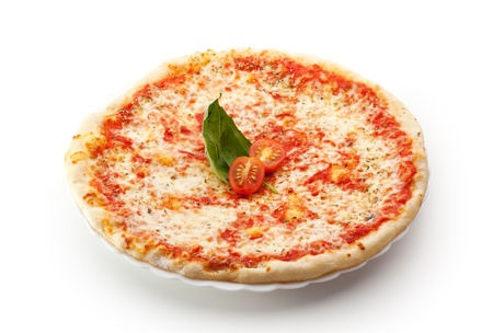 Pizza Margherita made with Tomatoes, Gauda Cheese and Mozzarella photo