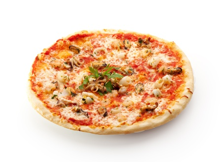 Seafood Pizza made with Tomato Sauce and  Mozzarella photo