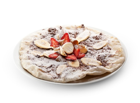 Fruit Pizza made with Chocolate and Banana photo