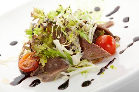 Beef Tongue Salad with Fresh Vegetables and Balsamic Sauce photo