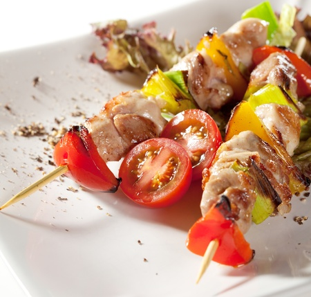 Japanese Skewered Chicken (yakitori) with Vegetables photo