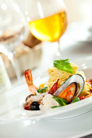 shellfish: Seafood Spaghetti Stock Photo