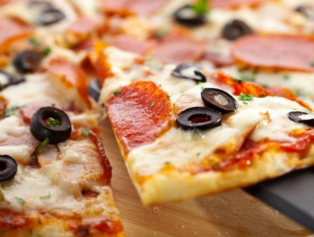 crust: Pizza Salami Stock Photo