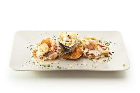 Potato Pancake with Seafood and Cream Sauce photo