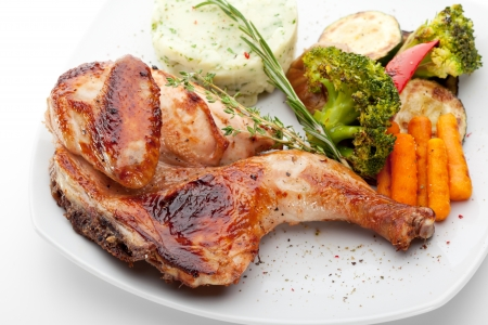 Chicken with Mashed Potato and Grilled Vegetables Stock Photo - 13675927