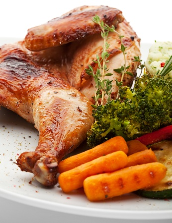 Chicken with Mashed Potato and Grilled Vegetables Stock Photo - 13657132