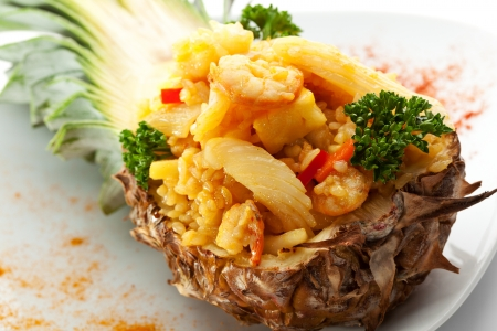 Seafoods with Rice and Pineapple photo