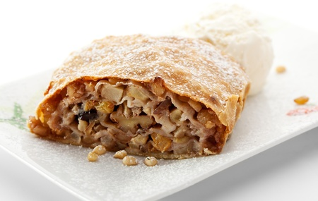Apple Strudel with Nuts Served with Ice Cream photo