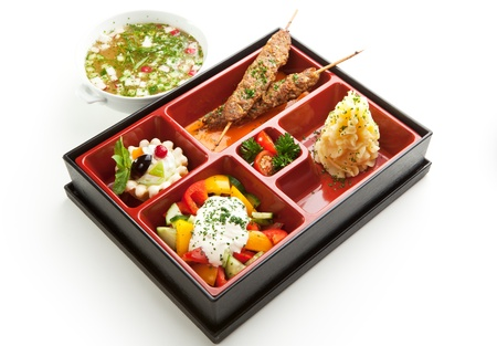 bento: Japanese Meal in a Box  Bento  - Salad, Skewered Meat and Mashed Potato and Dessert