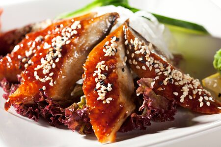 Unagi Sashimi - Smoked Eel on Daikon  White Radish  with Eel Sauce and Sesame  Served with Seaweed, Cucumber and Lemon Stock Photo - 13676565