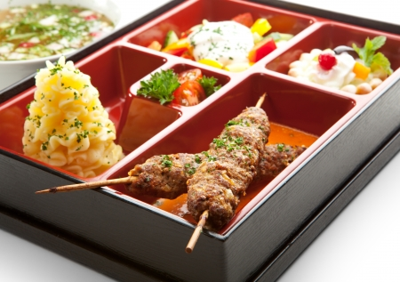 bento box: Japanese Meal in a Box  Bento  - Salad, Skewered Meat and Mashed Potato and Dessert
