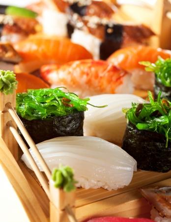 japanese sake: Cocina Japonesa - Sushi Set Foto de archivo