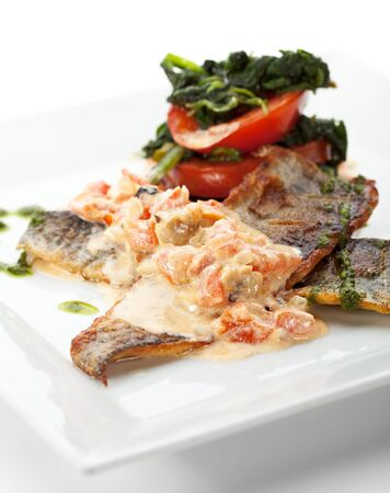 sea bass: Fillet of Seabass with Tomato and Mussels Sauce
