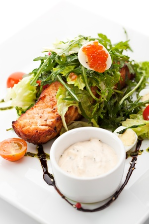Grilled Salmon with Vegetables, Eggs and Tartar Sauce photo