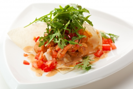 seafood salad: Appetizers -  Fried Tiger Shrimps with Sliced Tomato and Sauce