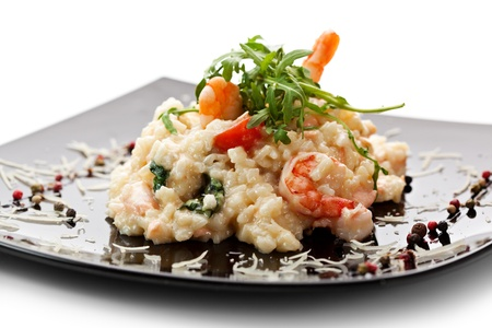 seafood salad: Risotto with Salmon, Tiger Prawns and Cherry Tomatoes