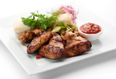 black breast: Hot Meat Dishes - Grilled Chicken Wings with Red Spicy Sauce