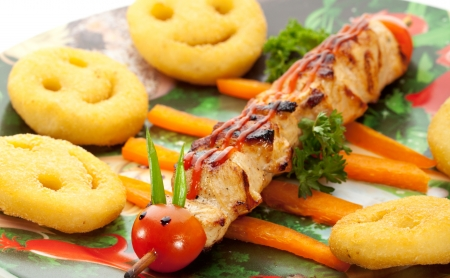 papas fritas: Ni�os Alimentos - Carne de barbacoa con patatas fritas