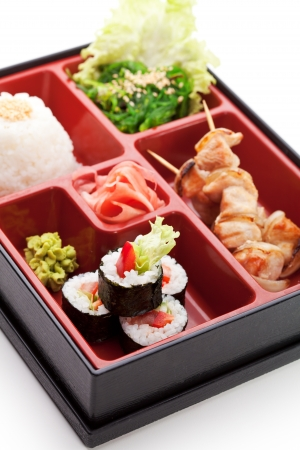 bento: Japanese Meal in a Box (Bento) - Chuka Salad, Skewered Meat with Rice and Sushi Roll