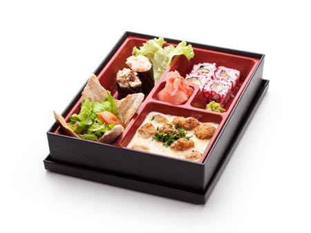 bento box: Japanese Meal in a Box (Bento) - Salad, Maki and Gunkan Sushi, Meats Ball