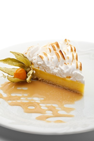Dessert - Slice of Lemon Pie topped with Whipped Cream photo