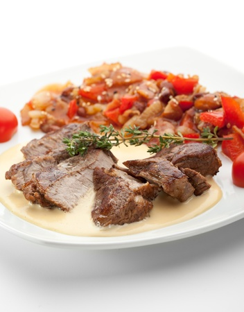 Pork Medallions with Beans and Sauce photo