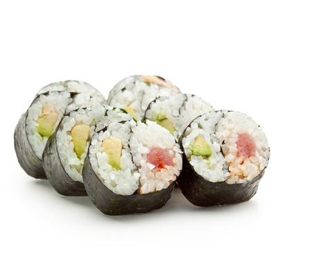 Yin Yang Maki Sushi - Roll made of Fresh Tuna and Avocado inside. Nori Outside photo