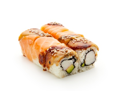 sake maki: Maki Sushi - Roll with Avocado and Crabmeat inside. Salmon and Smoked Eel (unagi) ouside