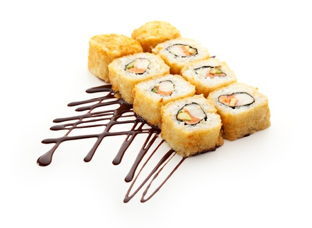 Japanese Cuisine - Deep Fried Sushi Roll with Salmon, Crab Meat, Avocado inside photo