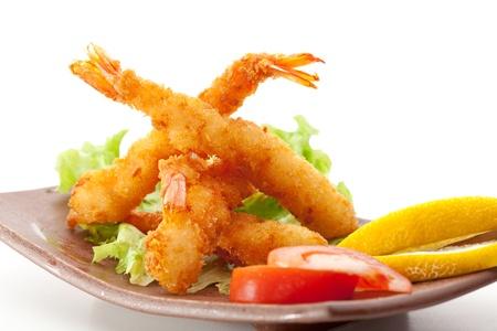 coated: Japanese Cuisine - Ebi Tempura (Deep Fried Shrimps) with Vegetables