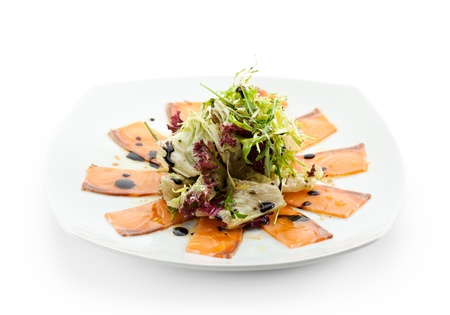 Appetizer - Salmon Carpaccio with Salad Mix Stock Photo - 15172728
