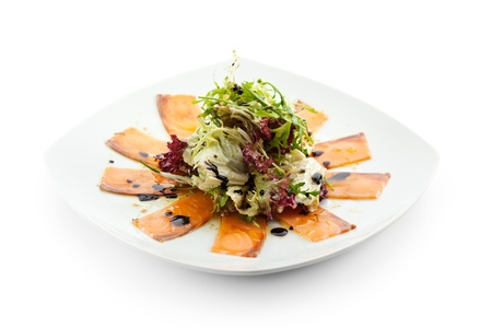 Appetizer - Salmon Carpaccio with Salad Mix Stock Photo - 15172682