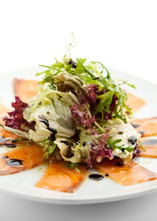 Appetizer - Salmon Carpaccio with Salad Mix Stock Photo - 15173036