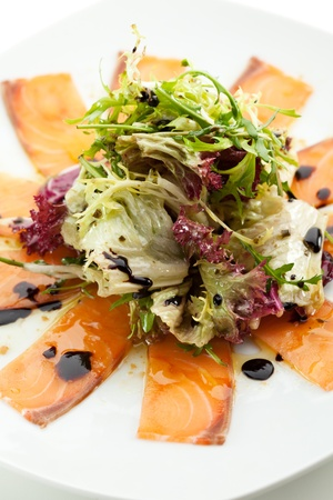 Appetizer - Salmon Carpaccio with Salad Mix Stock Photo - 15173277