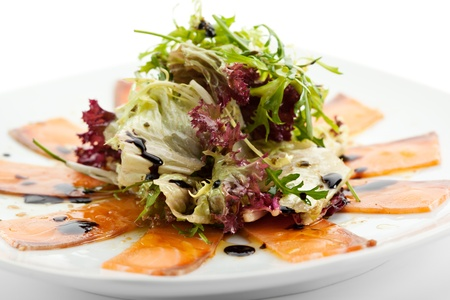 Appetizer - Salmon Carpaccio with Salad Mix Stock Photo - 15173269