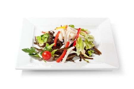 Chinese Cuisine - Calamary with Vegetables Salad photo