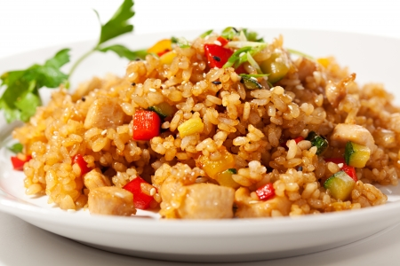 Chinese Cuisine - Fried Rice with Vegetables and Meat photo