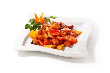 plat chinois: Cuisine chinoise - Viande de porc � l'ananas frits en sauce aigre-douce Banque d'images