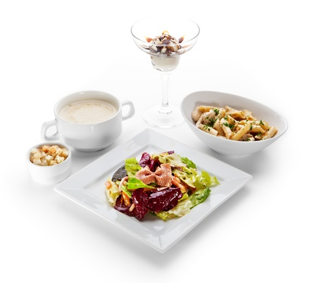 Lunch - Italian Salad, Potato Soup, Penne with Chicken, Ice Cream photo