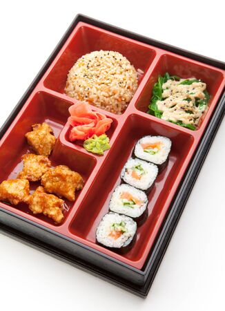 bento: Japanese Meal in a Box (Bento) - Chuka Salad, Fried Rice with Veggies, Sushi Roll, Tori Karagi (breaded chicken)