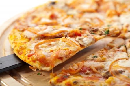 Pizza with Mozzarella, Bacon and Mushrooms photo