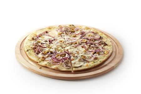 Pizza with Mozzarella, Tuna, Onions and Olives photo