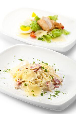 parmesan cheese: Traditional Pasta Carbonara with Greens Stock Photo