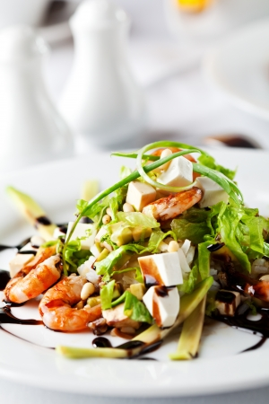 cubed: Salad with Cubed Feta Cheese and Seafood