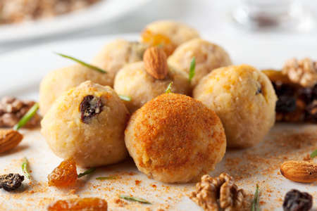 balls deep: Deep Fried Cheese Balls with Nuts Stock Photo
