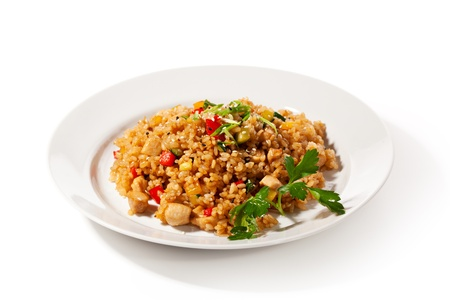 brown rice: Chinese Cuisine - Fried Rice with Vegetables and Meat