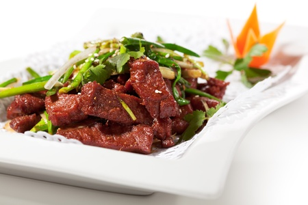 chinese dinner: Chicken Cuisine - Fried Beef with Onions and Chinese Spice