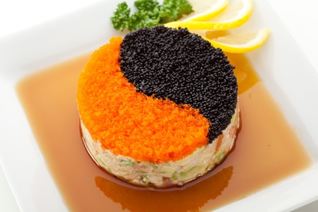 Yin-Yang Salad with Seafood and Avocado Stock Photo - 18742886