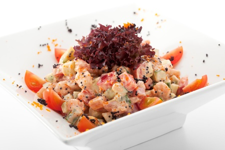 Salad with Shrimps, Vegetables, Tobiko and Avocado photo