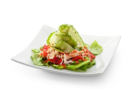 crab meat: Salad with Crab Meat and Sour-sweet Sauce